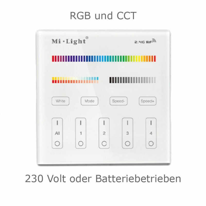 2.4G wall switch for RGB CCT lighting 4-channel MiLight compatible