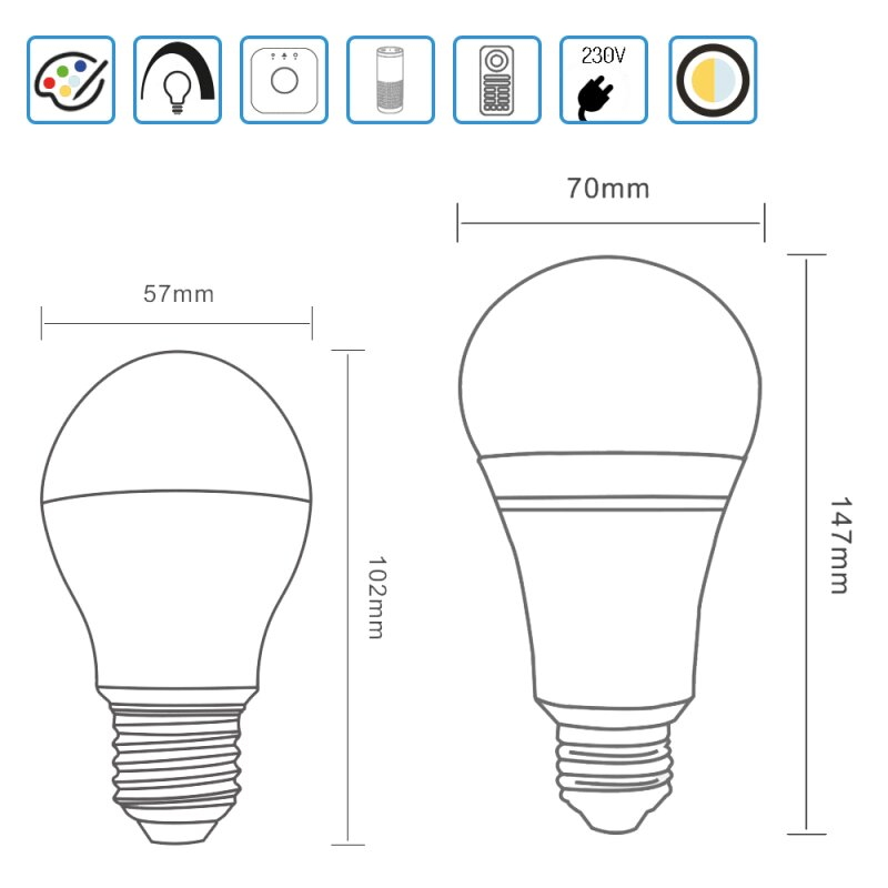 LED E27 bulb ZigBee Light Link Extension RGB color change CCT control