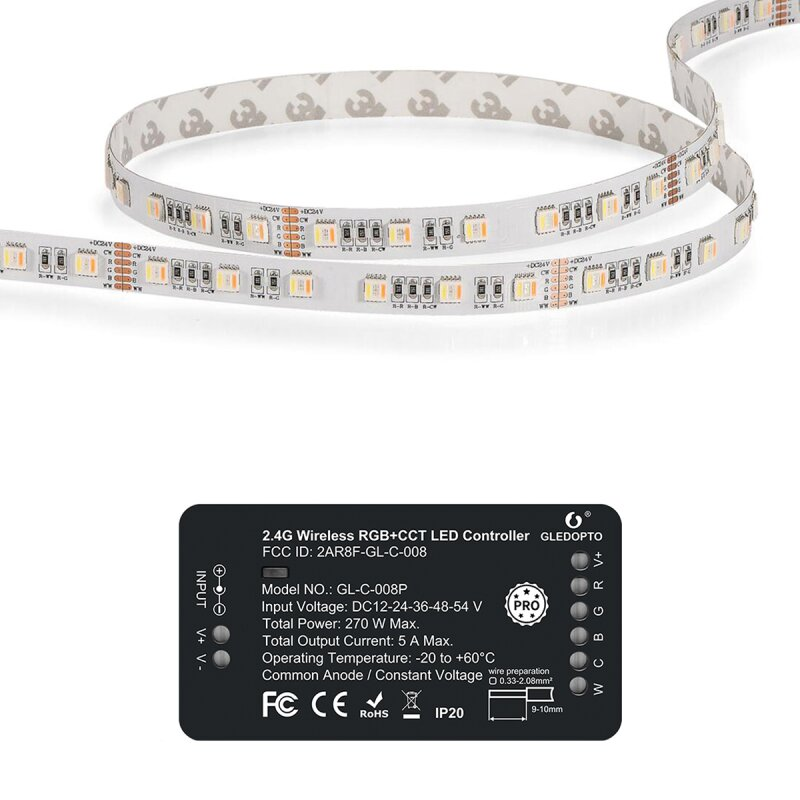 RGB + CCT set control unit and 5 meter stripe with 60 LED / m ZigBee compatible