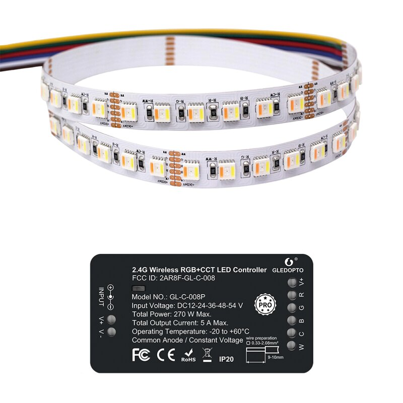 RGB + CCT controller and 5 meter stripe set 96 LED / m ZigBee compatible