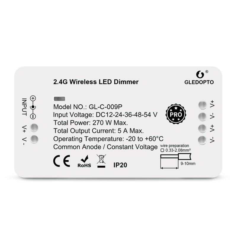 LED Dimmer ZigBee Pro series controller compatible with MiLight MiBoxer single color