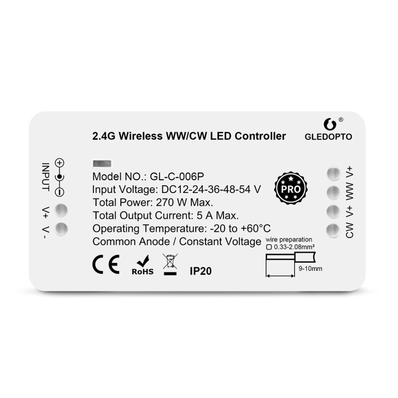 CCT ZigBee Pro series LED controller compatible with MiLight MiBoxer color temperature