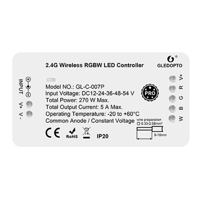 RGBW LED controller ZigBee Pro series compatible with MiLight MiBoxer